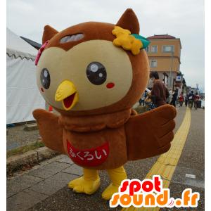 Mascotte Fuppi, gufo, gufo marrone e giallo - MASFR25131 - Yuru-Chara mascotte giapponese