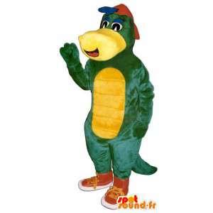 Mascote dinossauro verde e amarelo com sapatilhas vermelhas