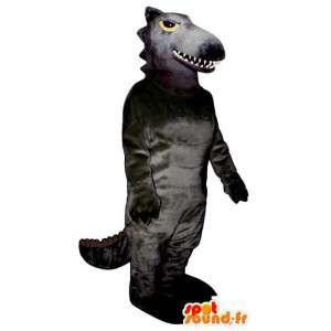 Mascotte de dinosaure gris-noir. Costume de dinosaure