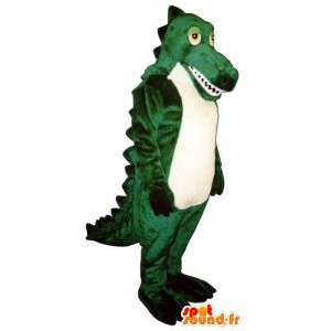 Mascote dinossauro verde, customizável. Costume Dinosaur