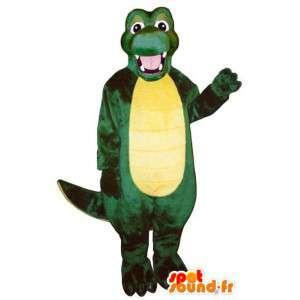 Maskot zelené a žluté dinosaura - všechny velikosti