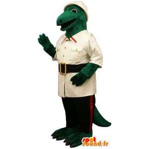Zielony dinozaur maskotka ubrana w eksploratorze