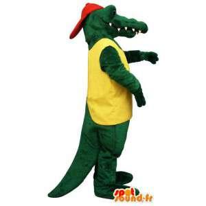 Mascotte del coccodrillo verde con il cappello rosso