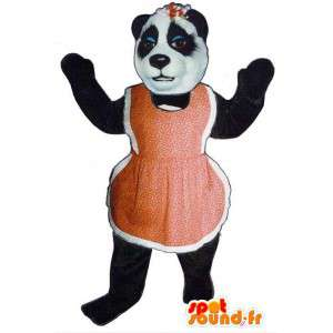 Mascot black and white bear with a red apron - MASFR006733 - Bear mascot