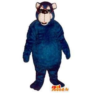 Mascotte de gros ours bleu avec des lunettes - MASFR006738 - Mascotte d'ours