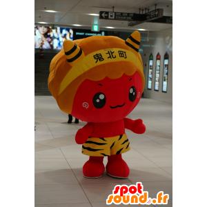 Red devil maskot, oransje og gult - MASFR25196 - Yuru-Chara japanske Mascots
