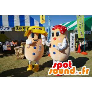 2 giganti mascotte patate, un ragazzo e una ragazza - MASFR25211 - Yuru-Chara mascotte giapponese