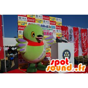 Mascotte grande uccello verde, viola e rosso - MASFR25218 - Yuru-Chara mascotte giapponese