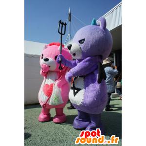 2 mascotte Koakkuma e Akkuma, orsacchiotto rosa e viola - MASFR25220 - Yuru-Chara mascotte giapponese