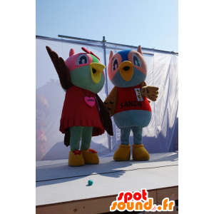 2 mascotte gufi colorati, gufi coppia - MASFR25223 - Yuru-Chara mascotte giapponese