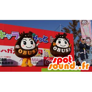 2 mascotte marrone e bianco della città di Obuse - MASFR25232 - Yuru-Chara mascotte giapponese