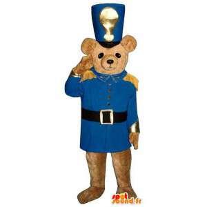 Mascotte d'ours marron en tenue de soldat de couleur bleue - MASFR006751 - Mascotte d'ours