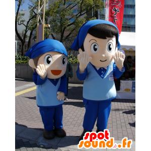 2 mascotte dei bambini, in uniforme blu con una bandana - MASFR25256 - Yuru-Chara mascotte giapponese