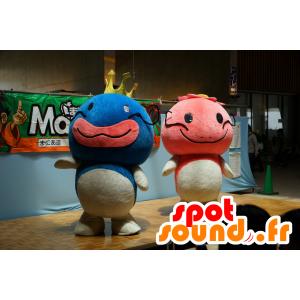 2 mascotte pesce azzurro, rosa e bianco, di grande successo - MASFR25294 - Yuru-Chara mascotte giapponese