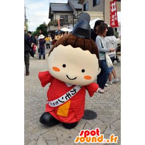 Mascotte Kamon-Chan, uomo giapponese, vestito con una tunica rossa - MASFR25307 - Yuru-Chara mascotte giapponese