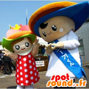 2 paia di mascotte ragazzo e una ragazza vestita - MASFR25316 - Yuru-Chara mascotte giapponese