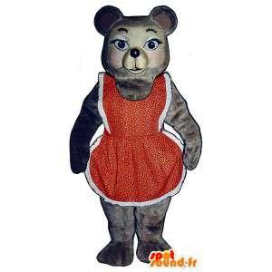 Van de bruine beer mascotte in rode en witte jurk - MASFR006765 - Bear Mascot