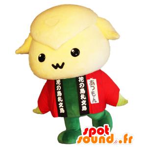 Atsumon mascotte, pecore giallo e verde con una veste rossa - MASFR25380 - Yuru-Chara mascotte giapponese