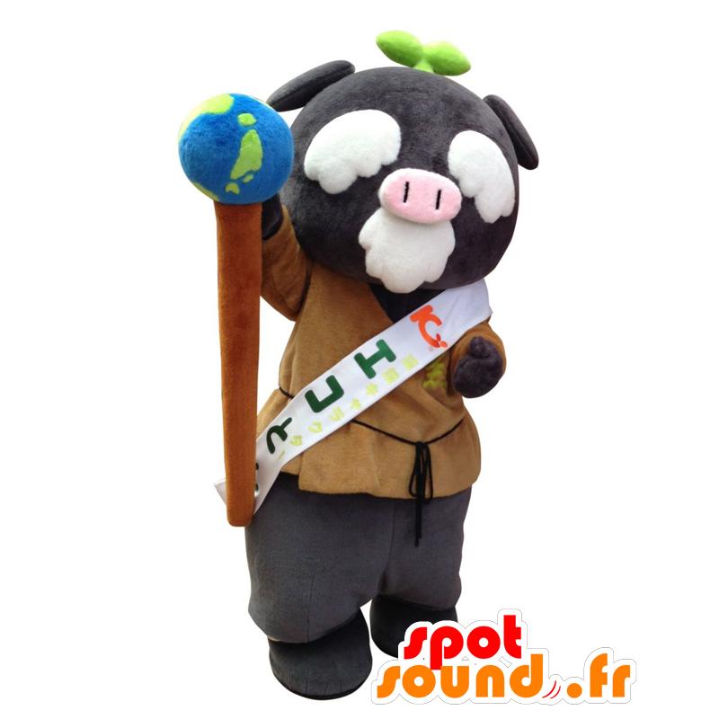 Mascotte d Ecoton, cochon gris, vieil homme avec une mappemonde -  MASFR25386 - 52cee6ff4a00