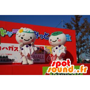 2 mascotte rotondo bianchi, fiori - MASFR25401 - Yuru-Chara mascotte giapponese