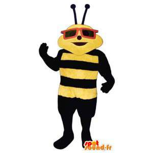 Mascotte d'abeille noire et jaune à lunettes
