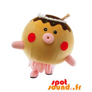 Takobo mascotte, polpo marrone, rosa e beige, tutto - MASFR25437 - Yuru-Chara mascotte giapponese