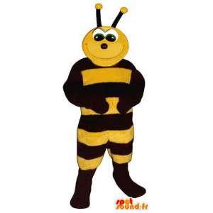 Mascot van zwarte en gele bij. Kostuum