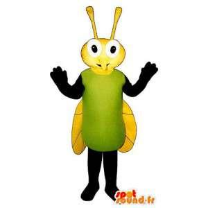 Mascot verde mosquito amarillo y negro