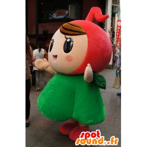 Jente maskot, rød og grønn blomst, veldig søt - MASFR25469 - Yuru-Chara japanske Mascots
