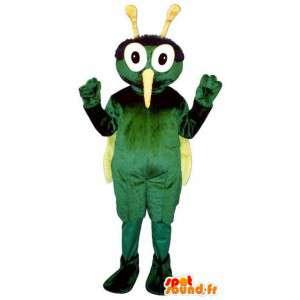 Mascot green and yellow mosquito