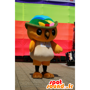 Arancione Mascot e uccello bianco con un cappello - MASFR25480 - Yuru-Chara mascotte giapponese
