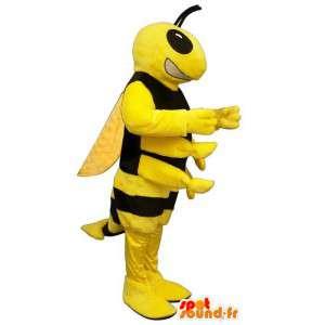 Mascotte gele en zwarte wesp - Alle maten