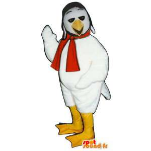 Biały ptak maskotka z szalikiem i kapeluszem - MASFR006788 - ptaki Mascot