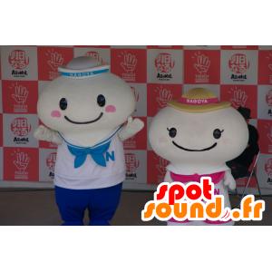 2 mascotte compagni in bianco marinaio abiti - MASFR25509 - Yuru-Chara mascotte giapponese
