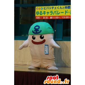 Bianco pupazzo mascotte, una bandana verde con - MASFR25512 - Yuru-Chara mascotte giapponese