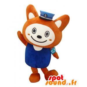 Mascotte Sounyan, arancione e bianco volpe, uniforme blu - MASFR25516 - Yuru-Chara mascotte giapponese