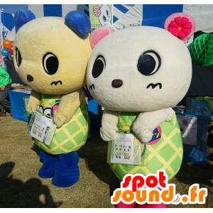 2 Teddy mascotte, il mouse, un giallo e bianco - MASFR25518 - Yuru-Chara mascotte giapponese
