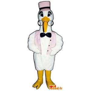 Mascot cigüeña blanca con un chaleco y un sombrero de color rosa - MASFR006794 - Mascota de aves