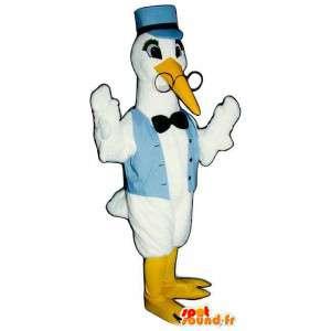 Mascotte cicogna bianca in maglia blu, con gli occhiali - MASFR006795 - Mascotte degli uccelli