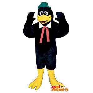 Mascot duck, black raven. Costume robin