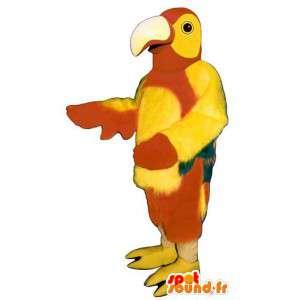 Mascotte de perroquet rouge et jaune, simple et personnalisable