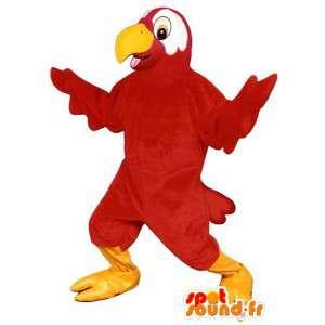 Mascotte de perroquet rouge. Costume de toucan