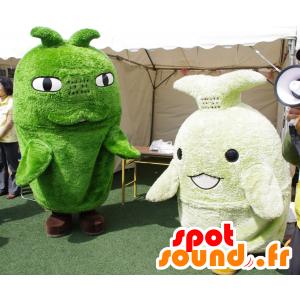 2 mascotte verde, pupazzi di neve, pesce - MASFR25654 - Yuru-Chara mascotte giapponese