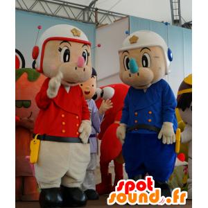 2 mascotte rhino in uniformi della polizia rosso e blu - MASFR25659 - Yuru-Chara mascotte giapponese