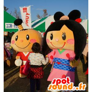 2 mascotte giapponese, un ragazzo e una ragazza - MASFR25665 - Yuru-Chara mascotte giapponese