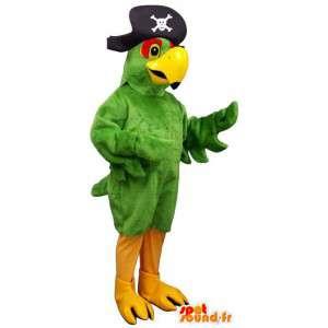 Grön papegojamaskot med en piratkaptenhatt - Spotsound maskot