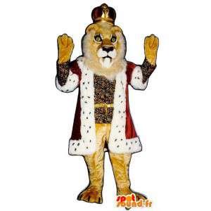Mascotte de lion habillé en roi. Costume de roi lion