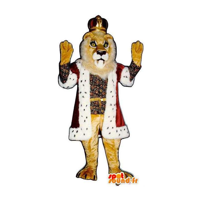 Mascotte de lion habillé en roi. Costume de roi lion - MASFR006815 - Mascottes Lion