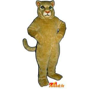 Beige leeuw mascotte. Leeuwin Costume