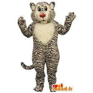 Mascotte de tigre blanc zébré de noir. Costume tigre